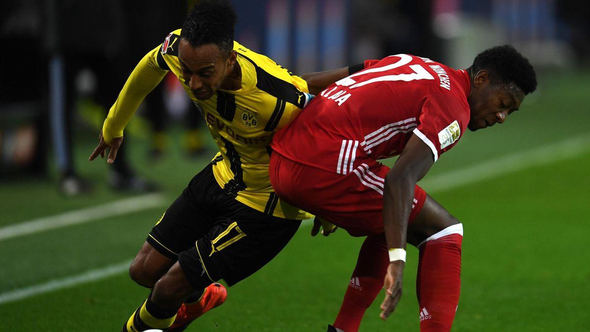 Pierre-Emerick Aubameyang (Dortmund) au duel avec David Alaba (Bayern).
