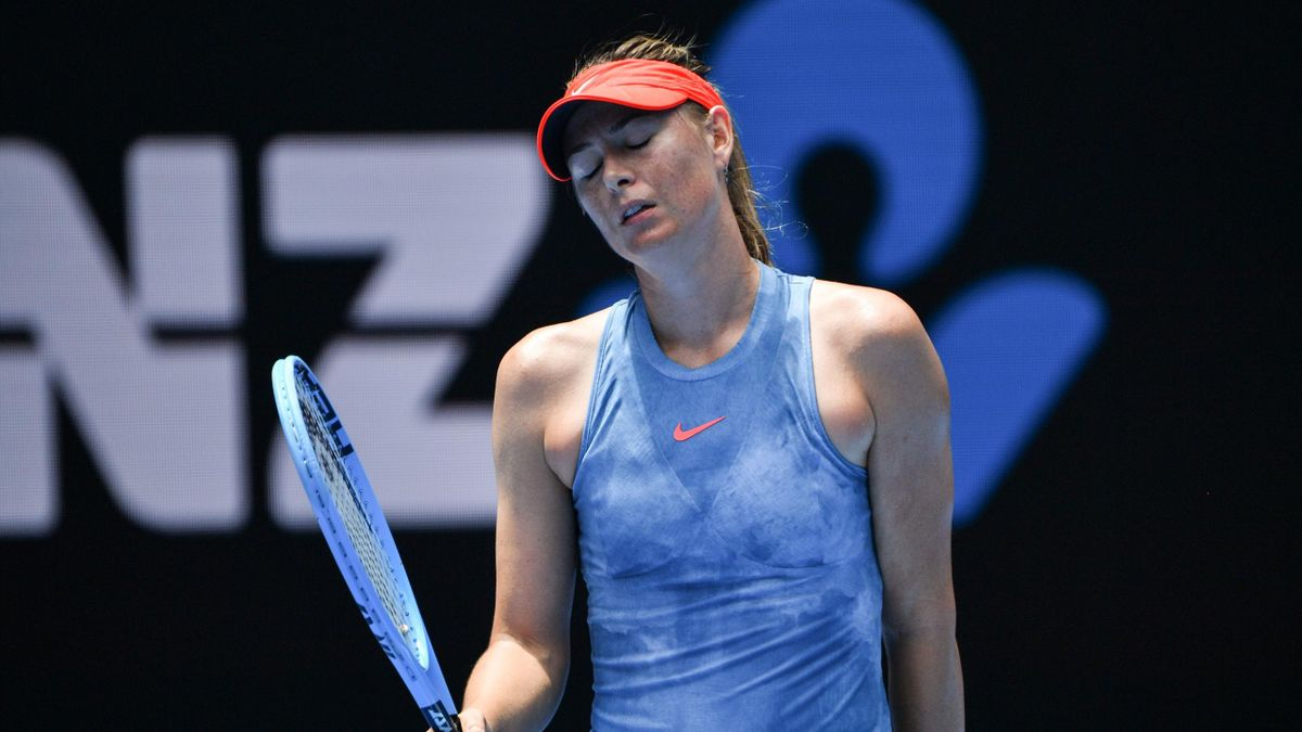 Russia's Maria Sharapova reacts
