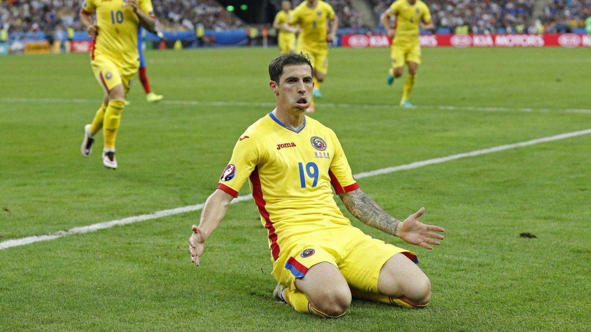 Romania's Bogdan Stancu celebrates after scoring their first goal