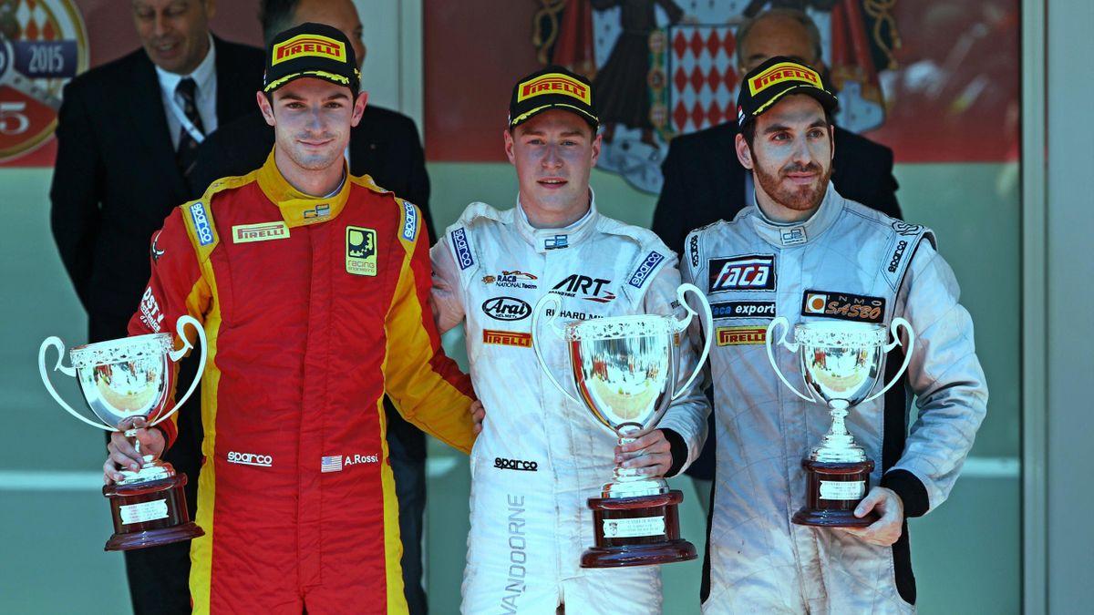 Alexander Rossi (Racing Engineering), Stoffel Vandoorne (ART) et Sergio Canamasas (MP) sur le podium de la Course 1 de Monaco 2015