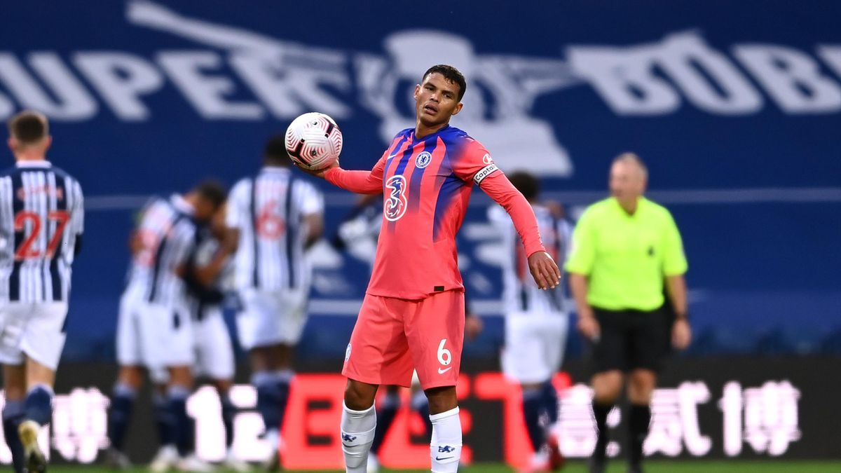 Thiago Silva of Chelsea looks dejected after making a mistake that lead to West Bromwich Albion's second goal during the Premier League match between West Bromwich Albion and Chelsea at The Hawthorns on September 26, 2020 in West Bromwich, England. Sport