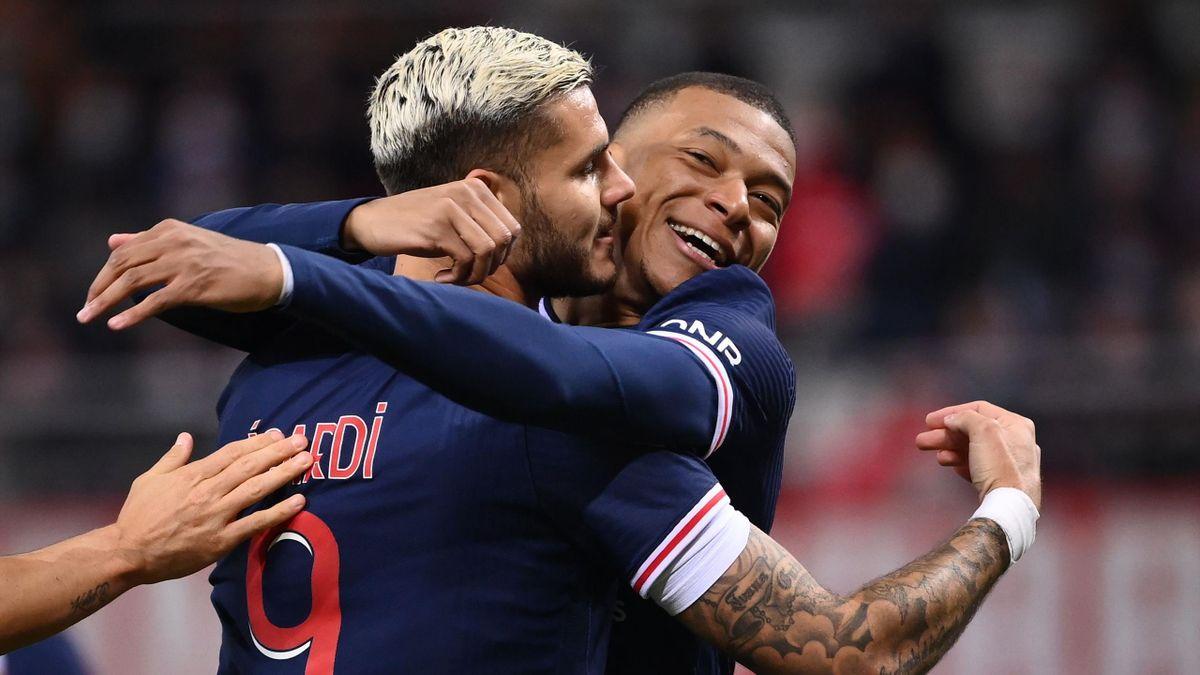 Mauro Icardi et Kylian Mbappé lors de Reims-PSG / Ligue 1