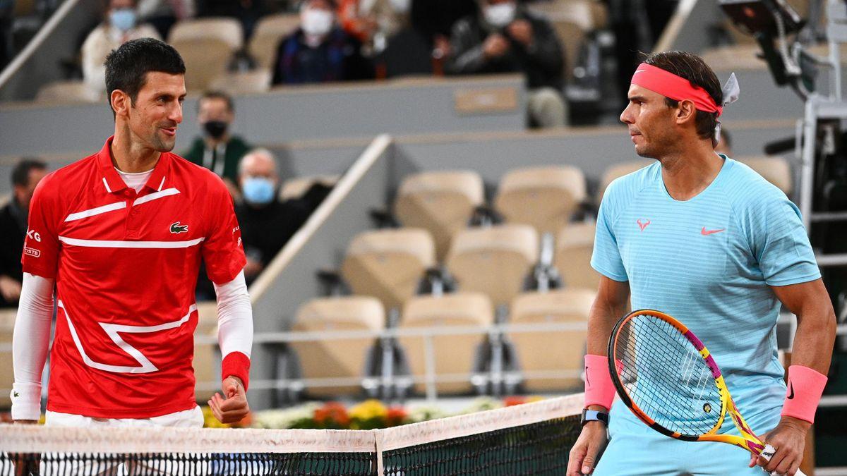 Novak Djokovic et Rafael Nadal avant la finale de Roland-Garros 2020