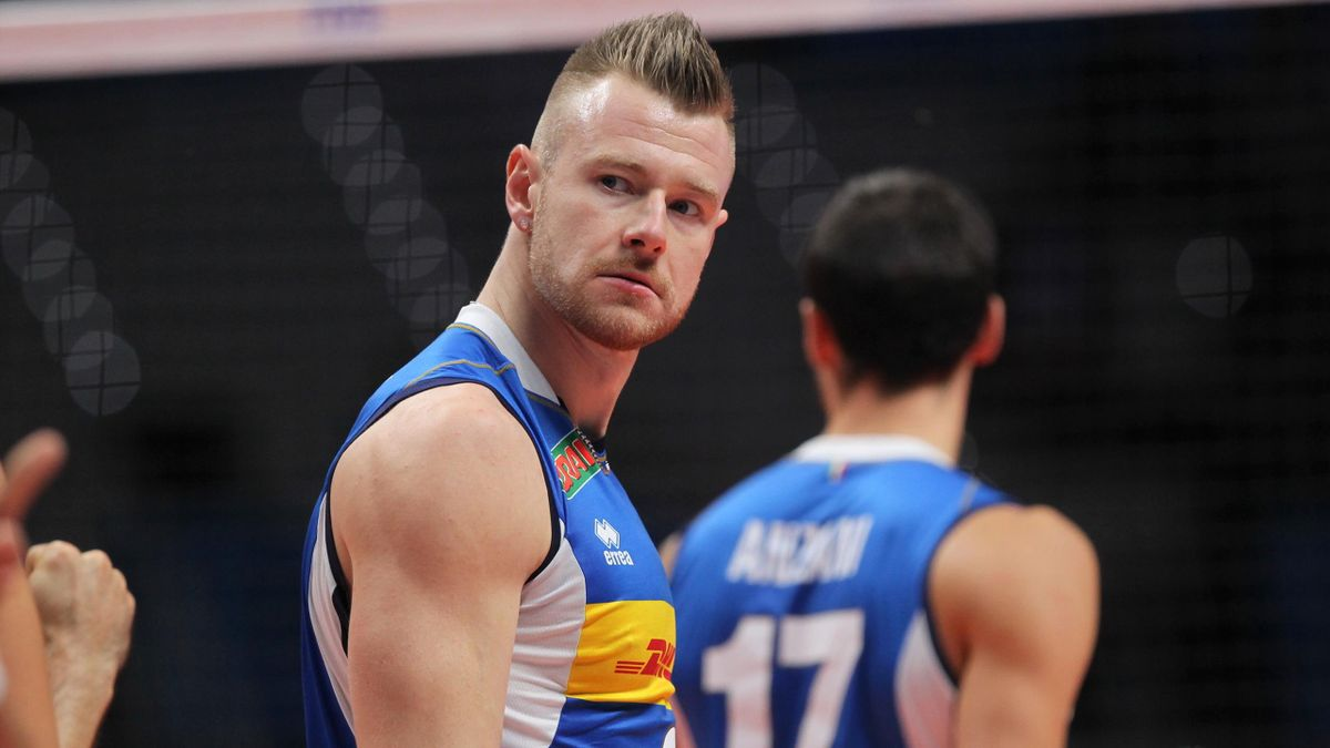 Ivan Zaytsev of Italy during the third day of Final Six volley match between Italy and Poland in Turin, Italy, on 28 September 2018. Italy team won against Poland 3:2.
