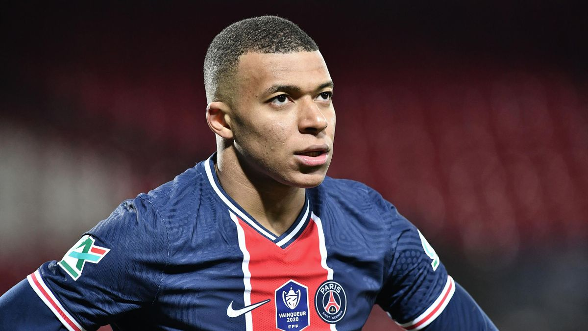 Paris Saint-Germain's French forward Kylian Mbappe looks on during the French Cup round-of-16 football match between Brest FC (Stade Brestois 29) and Paris Saint-Germain (PSG) at The Francis Le Ble Stadium in Brest, north-western France on March 6, 2021