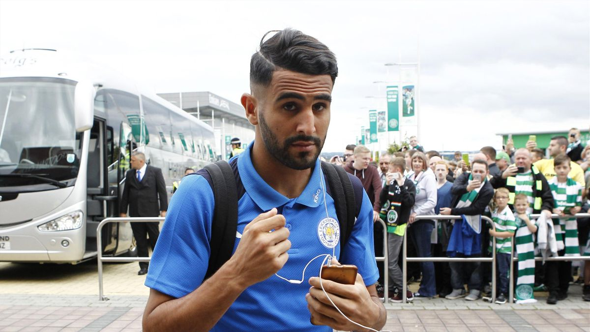 Leicester City's Riyad Mahrez arrives before the game