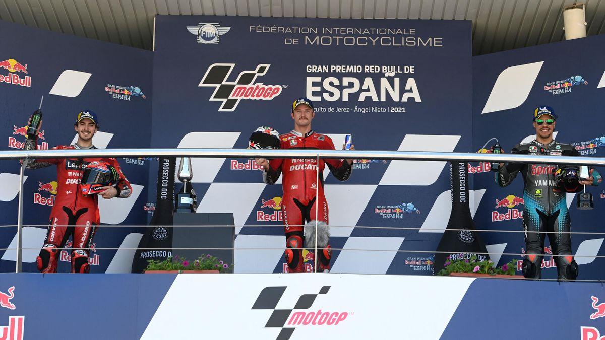 Jack Miller, Pecco Bagnaia e Franco Morbidelli sul podio, MotoGP Jerez 2021, Getty Images