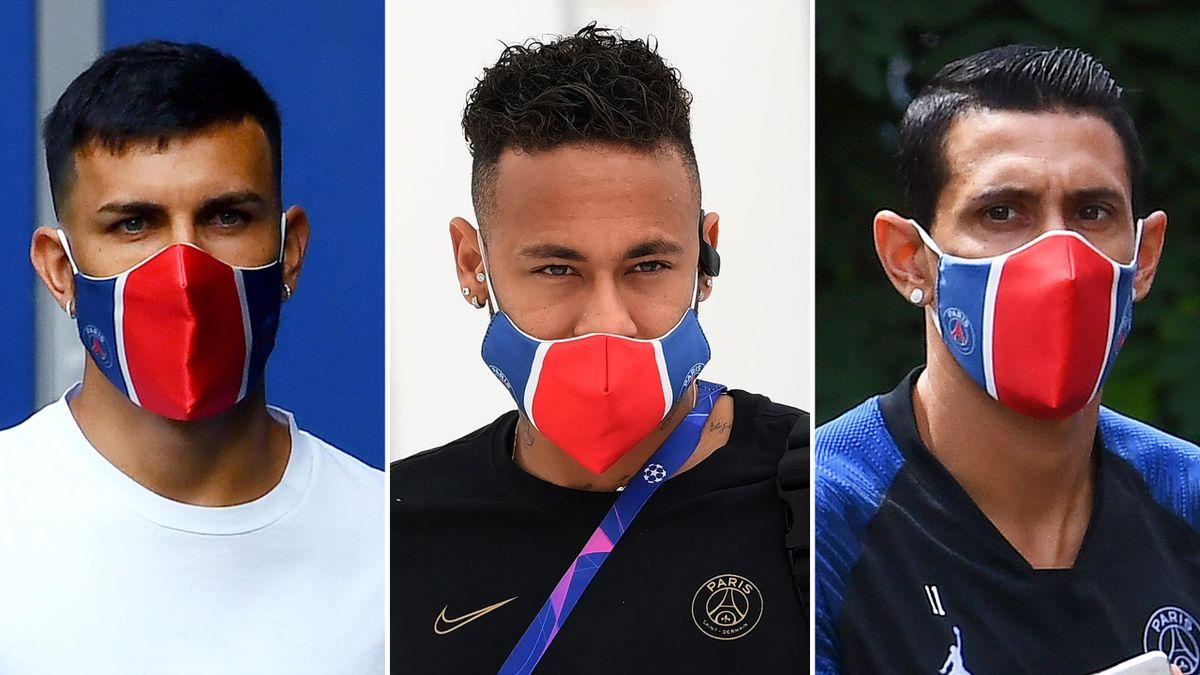 Leandro Paredes, Neymar et Angel Di Maria avec un masque