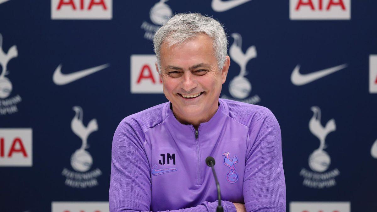 Jose Mourinho, head coach of Tottenham Hotspur during a press conference