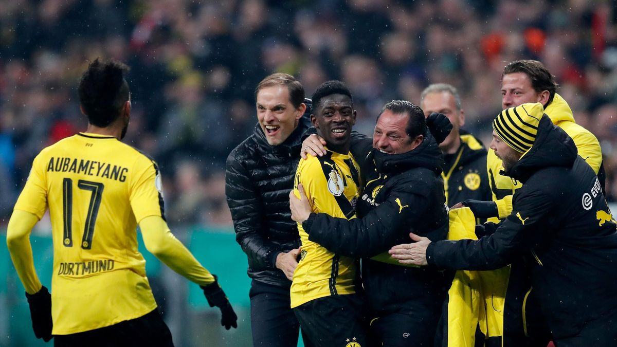 Ousmane Dembele #7 of Dortmund celebrates after he scores the 3rd goal during the DFB Cup semi final match between FC Bayern Muenchen and Borussia Dortmund at Allianz Arena on April 26, 2017 in Munich, Germany.