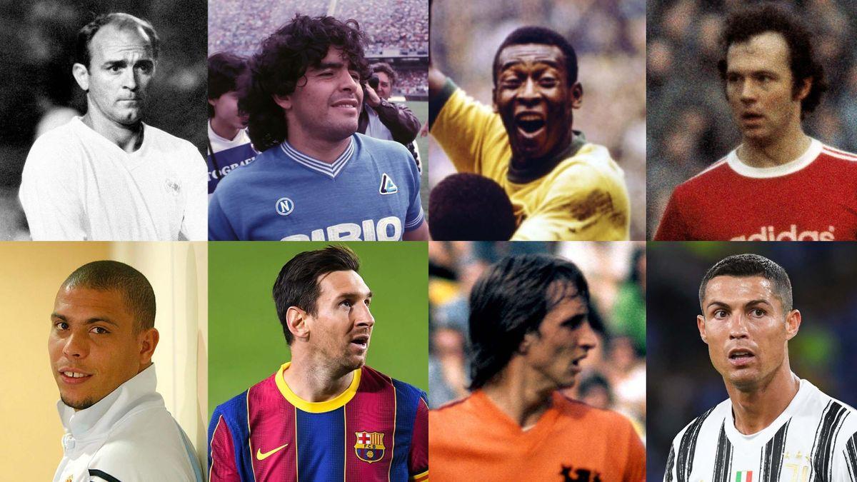 Di Stéfano, Maradona, Pelé, Beckenbauer, Ronaldo Nazario, Messi, Cruyff y Cristiano Ronaldo