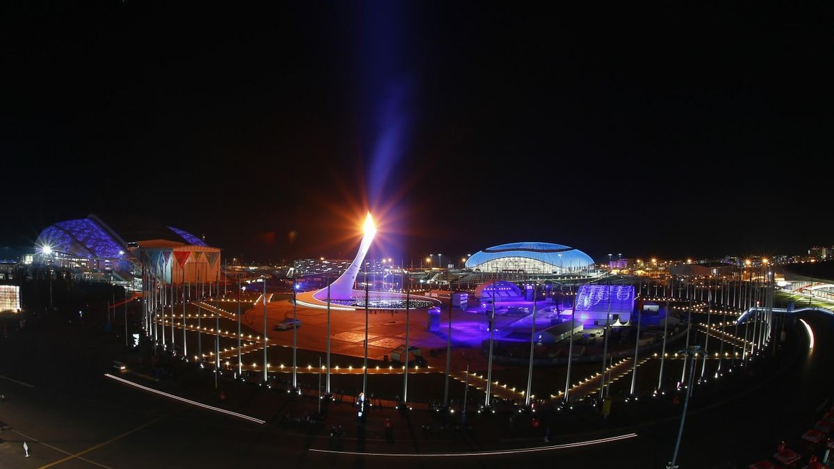 A general view of the Olympic Park is pictured during the closing ceremony for the 2014 Sochi Winter Olympics, February 23, 2014 (Reuters)