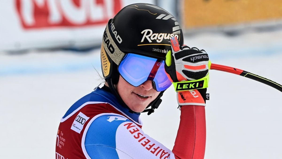 Switzerland's Lara Gut-Behrami reacts in the finish area during the FIS Alpine Ski Women's World Cup downhill, in Val di Fassa, northern Italy Alps, on February 27, 2021