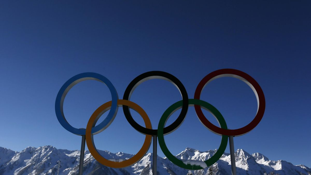 The Olympic rings are seen during a training session for the 2014 Sochi Winter Olympic Games