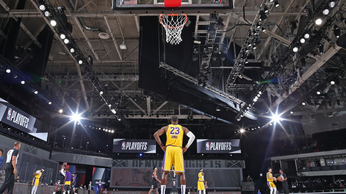 eBron James #23 of the Los Angeles Lakers stands on the court before Game Four of the Western Conference Finals against the Denver Nuggets on September 24, 2020 in Orlando, Florida at AdventHealth Arena.