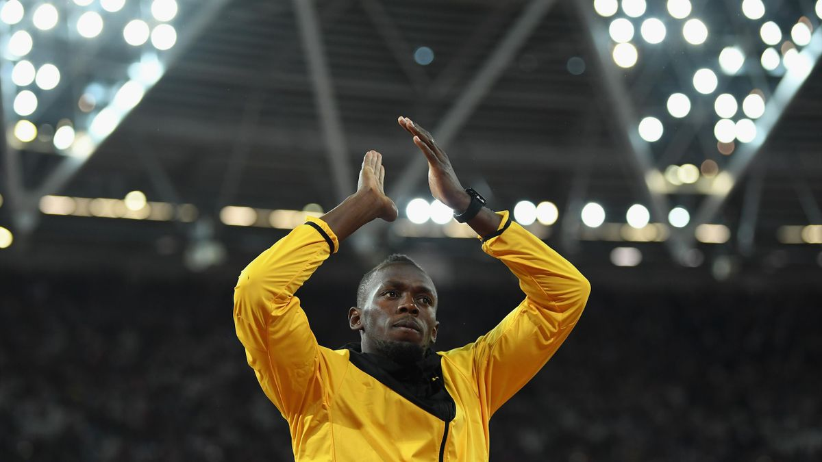 Usain Bolt of Jamaica bids farewell after his last World Athletics Championships