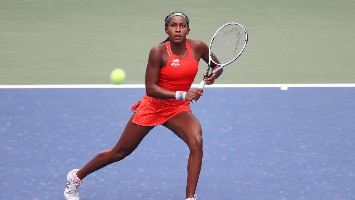 Cori Gauff of the United States returns the ball during her Women's Singles first round match against Anastasija Sevastova of Latvia on Day One of the 2020 US Open at the USTA Billie Jean King National Tennis Center on August 31, 2020 in the Queens boroug