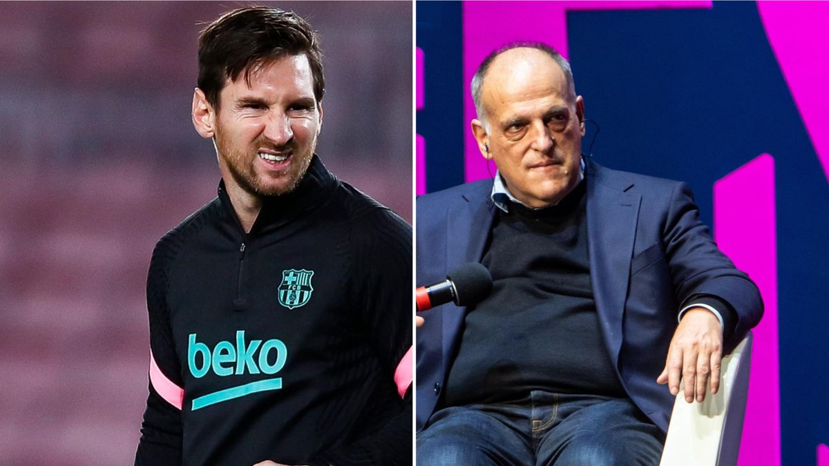 La Liga president Javier Tebas (R) says the league can cope without Lionel Messi if he were to join Man City
