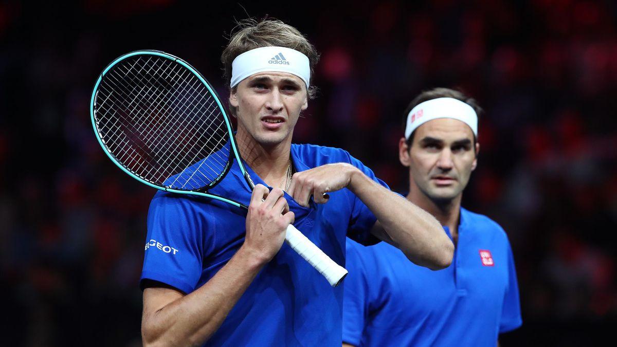 Alexander Zverev (links) und Roger Federer