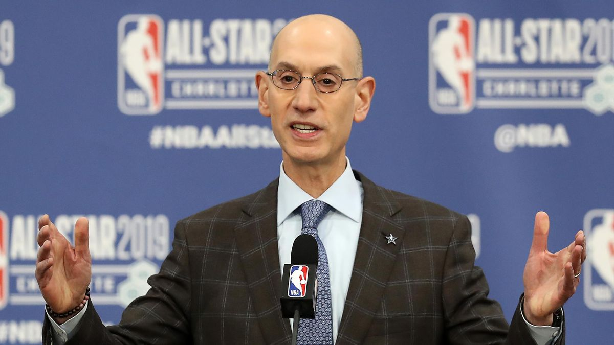 Adam Silver, NBA Commissioner, talks to the media during the NBA All Star Commissioner's Media Availability as part of the 2019 NBA All-Star Weekend at Spectrum Center on February 16, 2019 in Charlotte, North Carolina