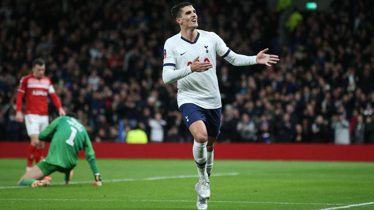Erik Lamela of Tottenham Hotspur celebrates scoring his sides second goal during the FA Cup Third Round Replay match between Tottenham Hotspur and Middlesbrough FC at Tottenham Hotspur Stadium on January 14, 2020 in London, England