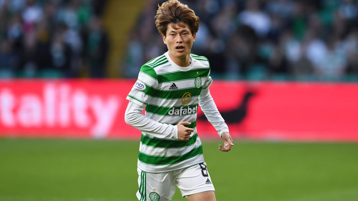 Celtic's Kyogo Furuhashi during a UEFA Europa League qualifier between Celtic and AZ Alkmaar at Celtic Park, on August 18, 2021, in Glasgow, Scotland