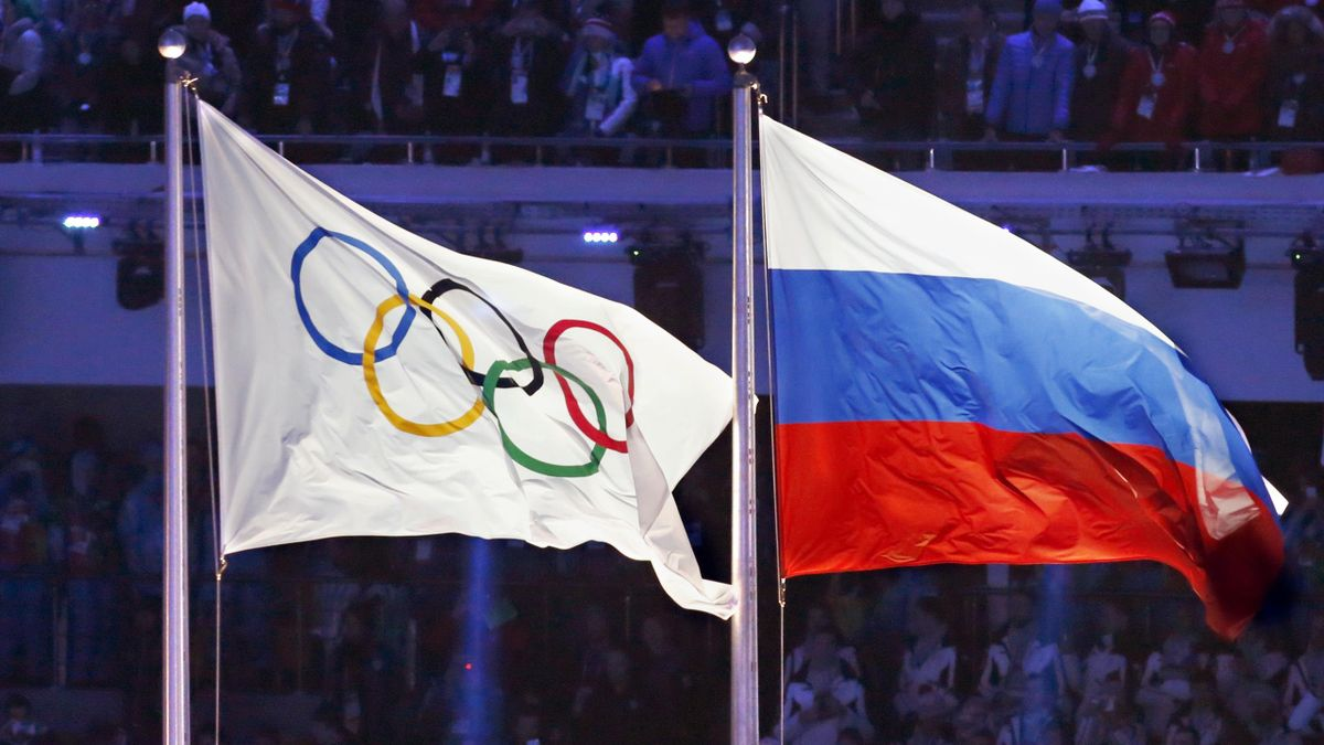 Olympic flag, Russia flag