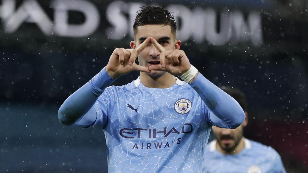 Ferran Torres of Manchester City celebrates after scoring his team's second goal during the Premier League match between Manchester City and Newcastle United