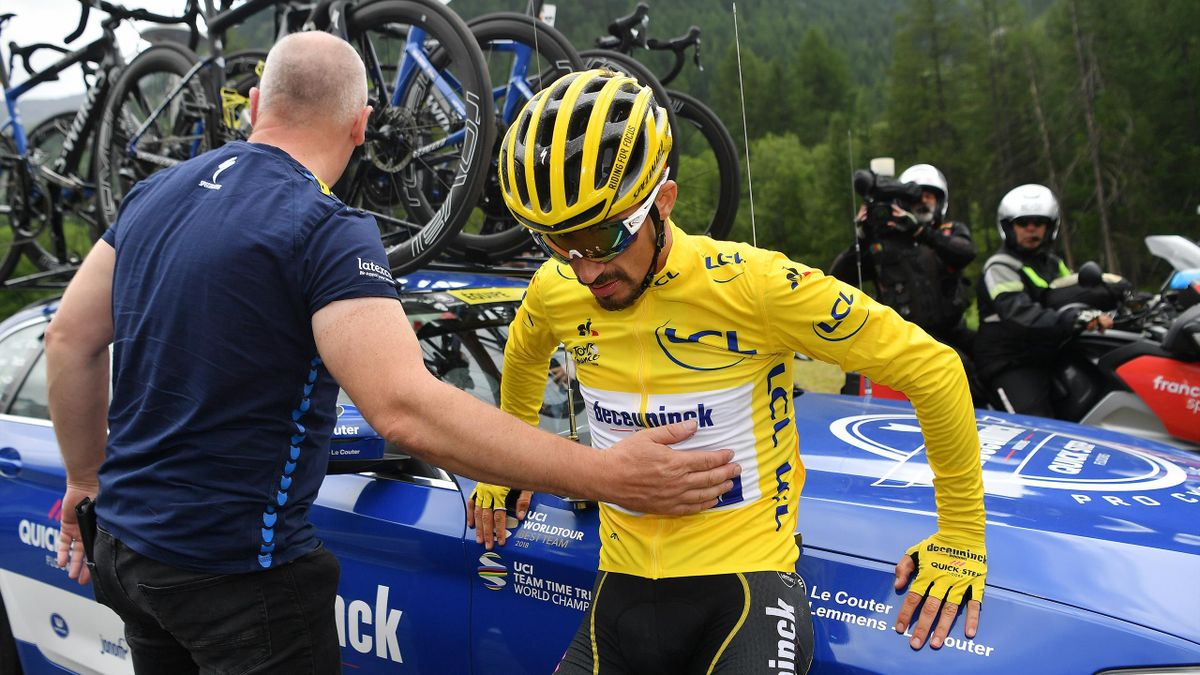 Julian Alaphilippe of France and Team Deceuninck - Quick-Step Yellow Leader Jersey / Stage neutralized - canceled due to snow and hail in the final 20km to finish-line / during the 106th Tour de France 2019, Stage 19