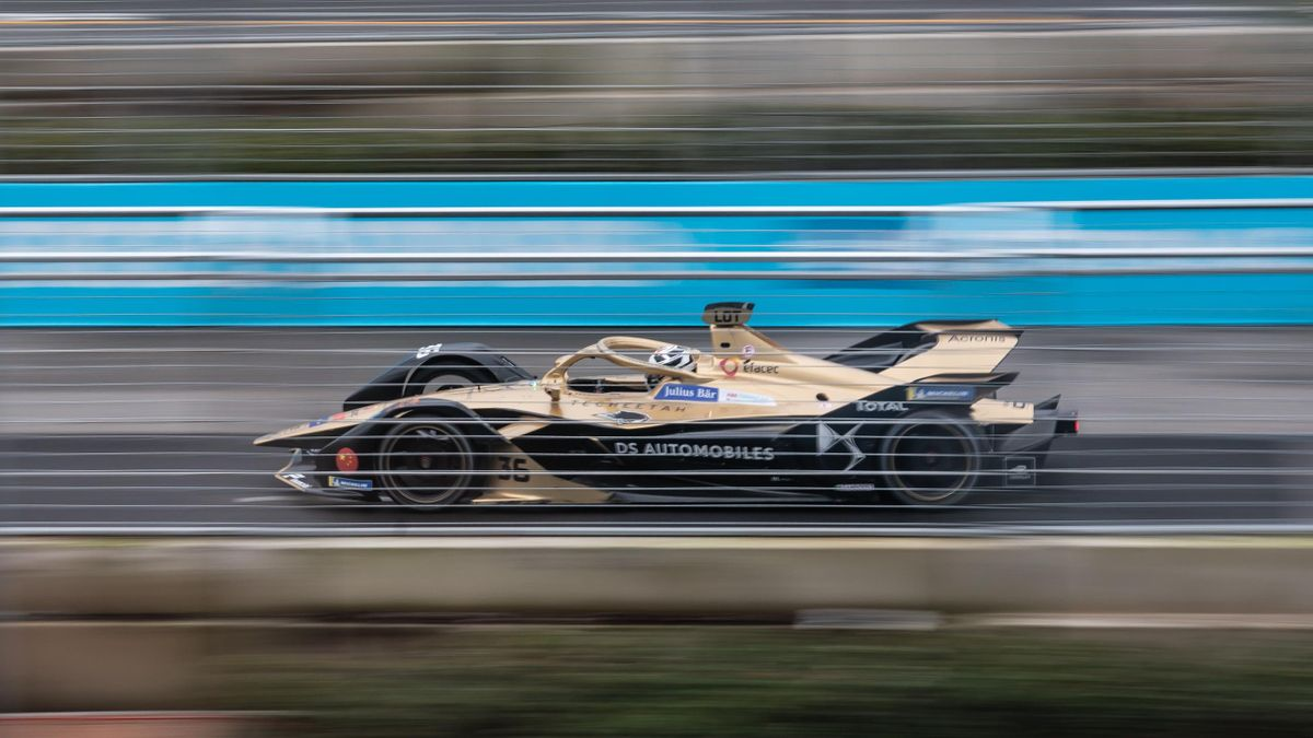 The DS Techeetah Formula E Team car of Andre Lotterer from Germany during the Hong Kong E-Prix on March 10, 2019 in Hong Kong
