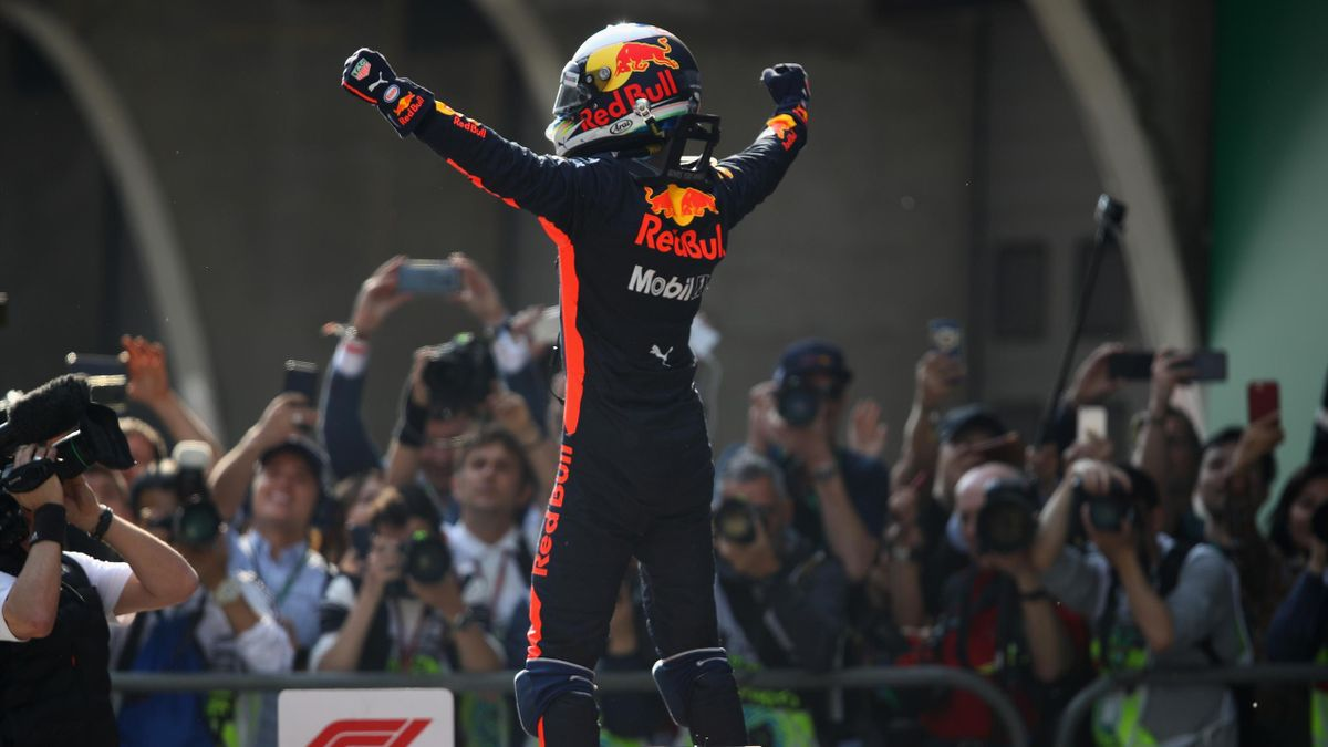 Race winner Daniel Ricciardo of Australia and Red Bull Racing celebrates in parc ferme during the Formula One Grand Prix of China at Shanghai International Circuit on April 15, 2018 in Shanghai, China.