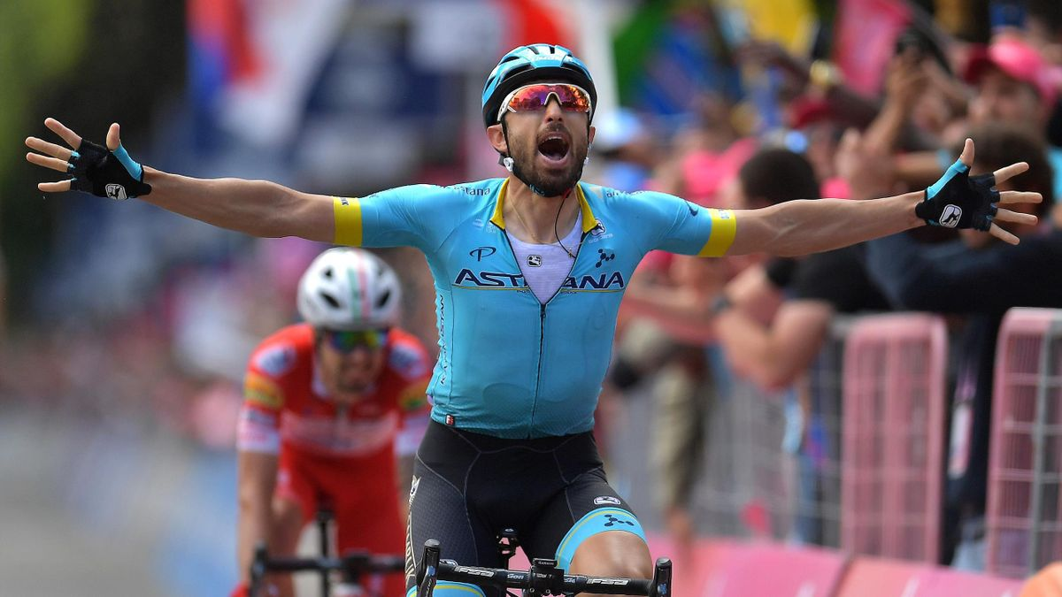 COMO, ITALY - MAY 26: Arrival / Dario Cataldo of Italy and Astana Pro Team / Celebration / Mattia Cattaneo of Italy and Team Androni Giocattoli - Sidermec / during the 102nd Giro d'Italia 2019, Stage 15 a 232km stage from Ivrea to Como / Tour of Italy / #