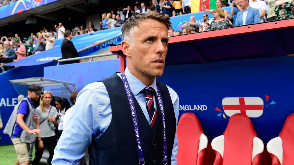 England coach Phil Neville during the Women's World Cup match between England and Cameroon