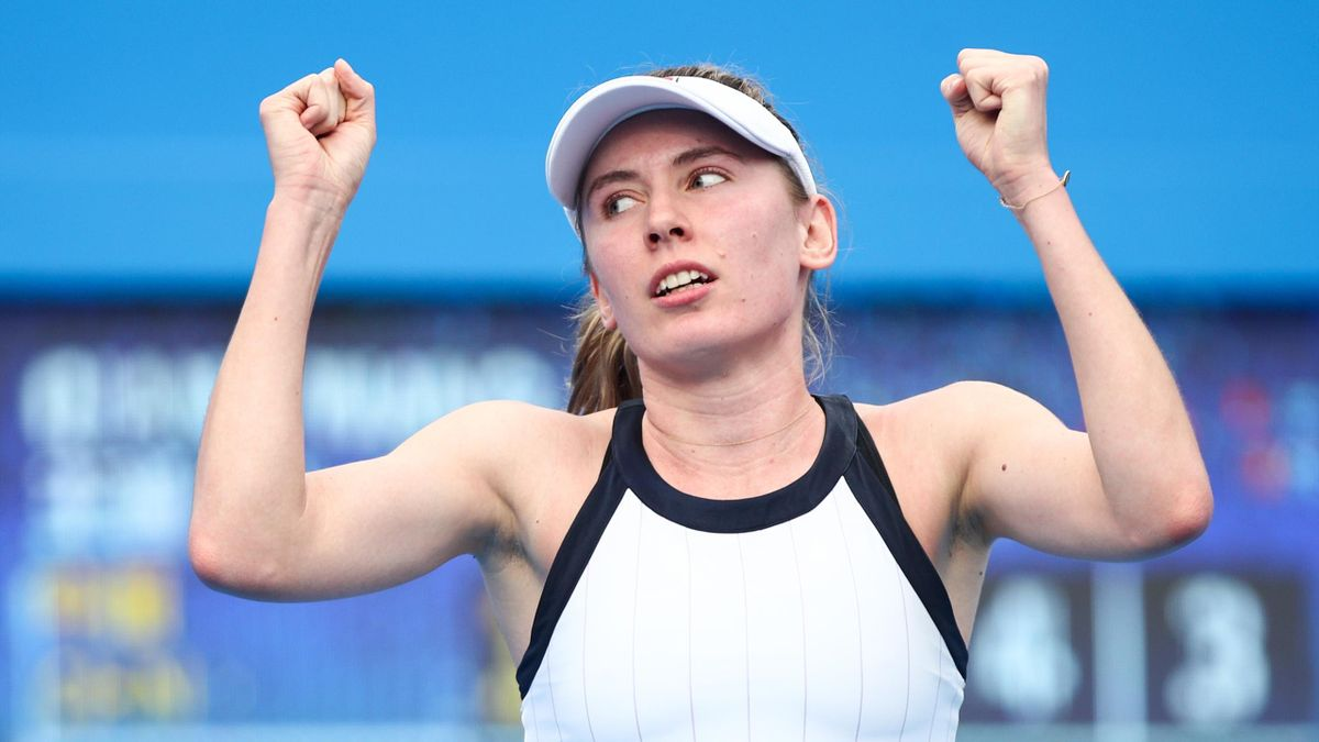 Ekaterina Alexandrova of Russia celebrates a point during the match against Wang Qiang of China on Day 5 of 2020 WTA Shenzhen Open at Shenzhen Longgang Sports Center