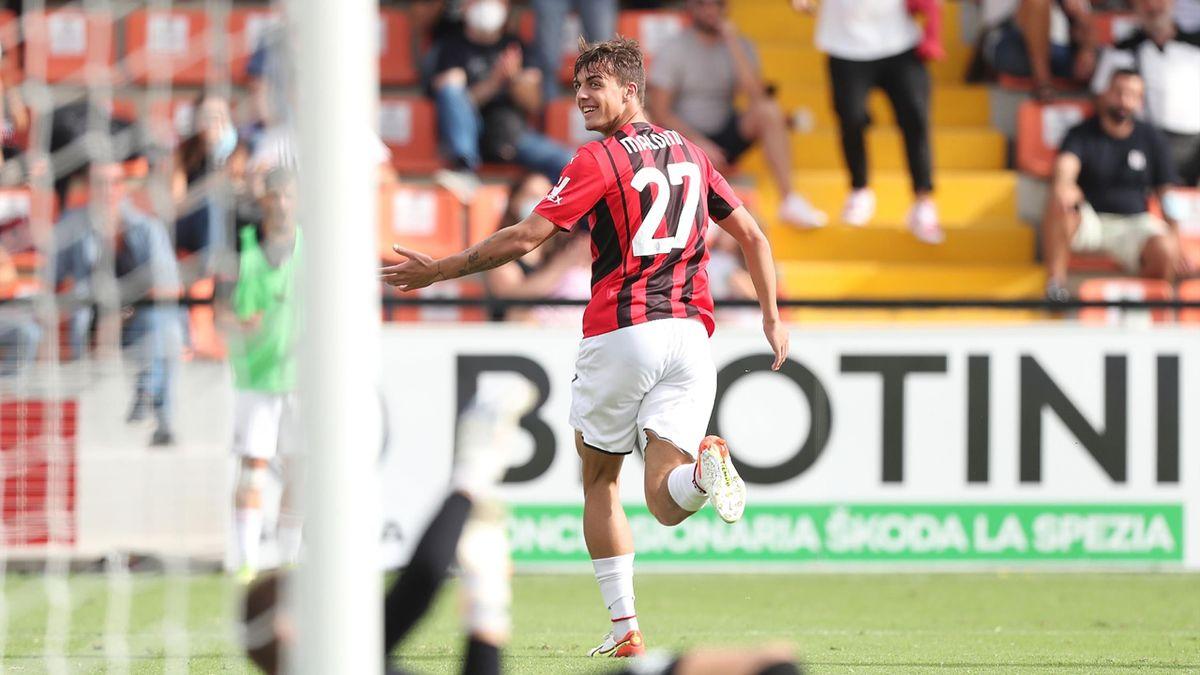 Daniel Maldini esulta dopo il gol allo Spezia: il primo in Serie A, Getty Images