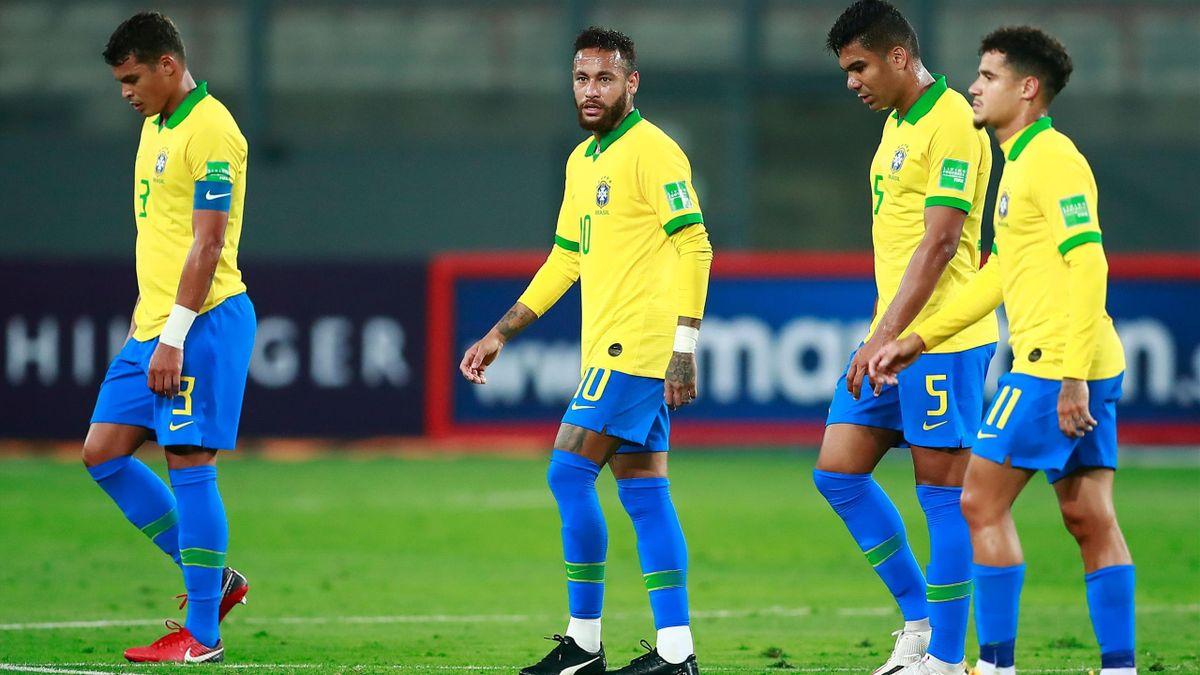 Thiago Silva, Neymar, Casmiro, Philippe Coutinho WM-2022-Qualifikation gegen Peru
