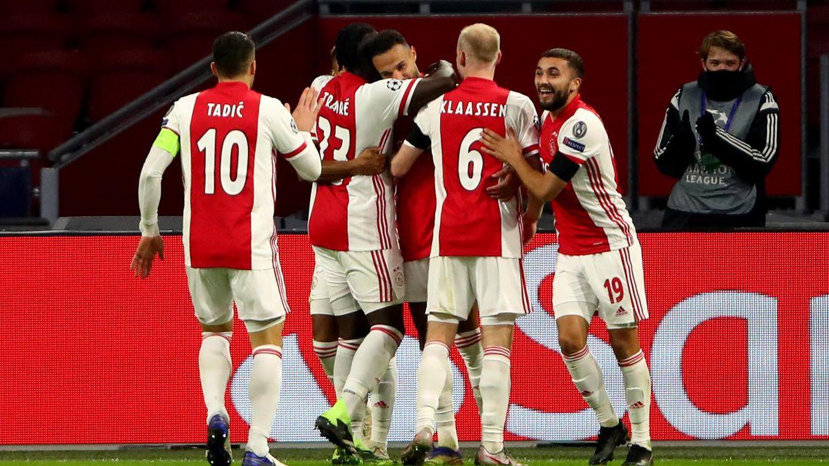 L'esultanza dell'Ajax dopo il vantaggio, Ajax-Midtjylland
