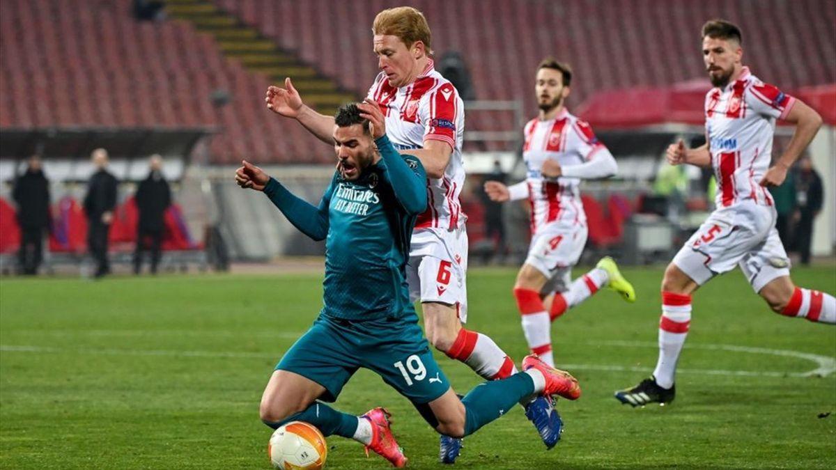 Il fallo da rigore su Theo Hernandez - Stella Rossa-Milan Europa League 2020-21