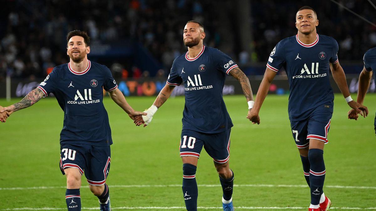 Lionel Messi - Neymar et Kylian Mbappé après la victoire sur Manchester City