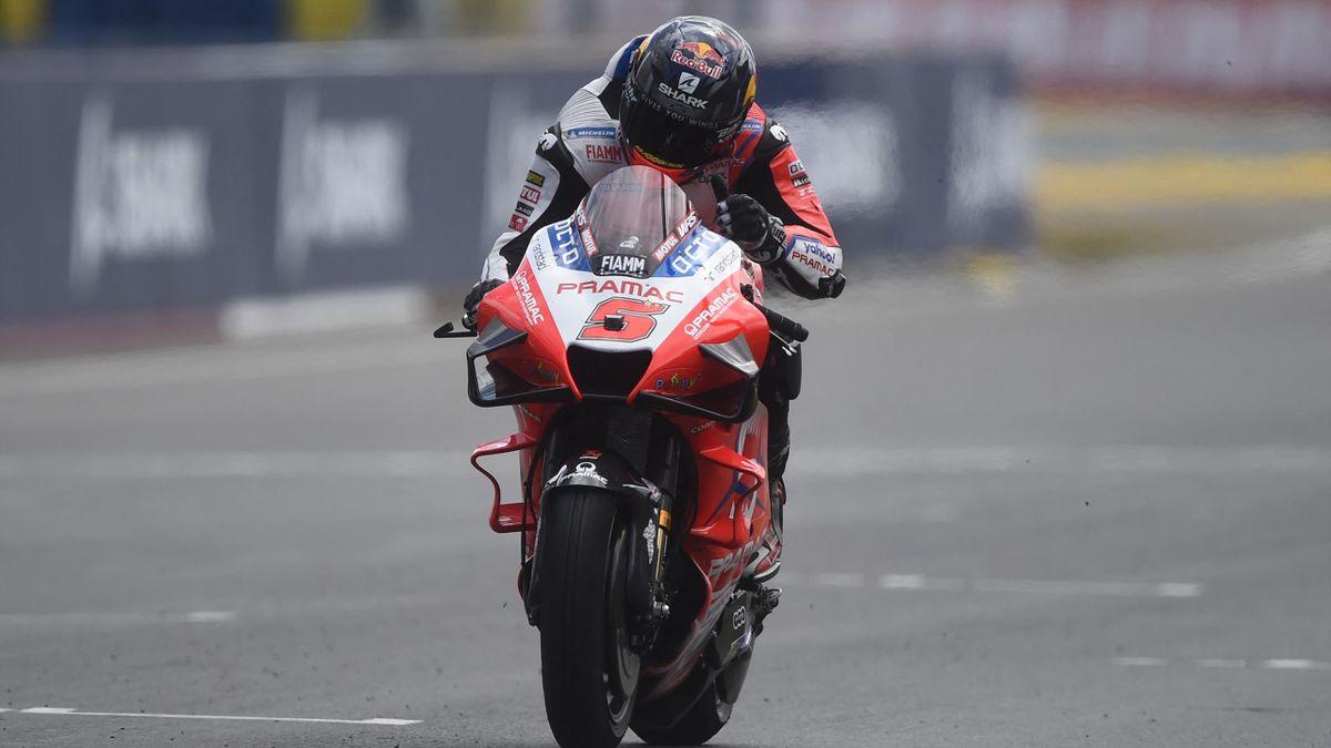Johann Zarco (Ducati Pramac) à l'arrivée du Grand Prix de France, le 16 mai 2021