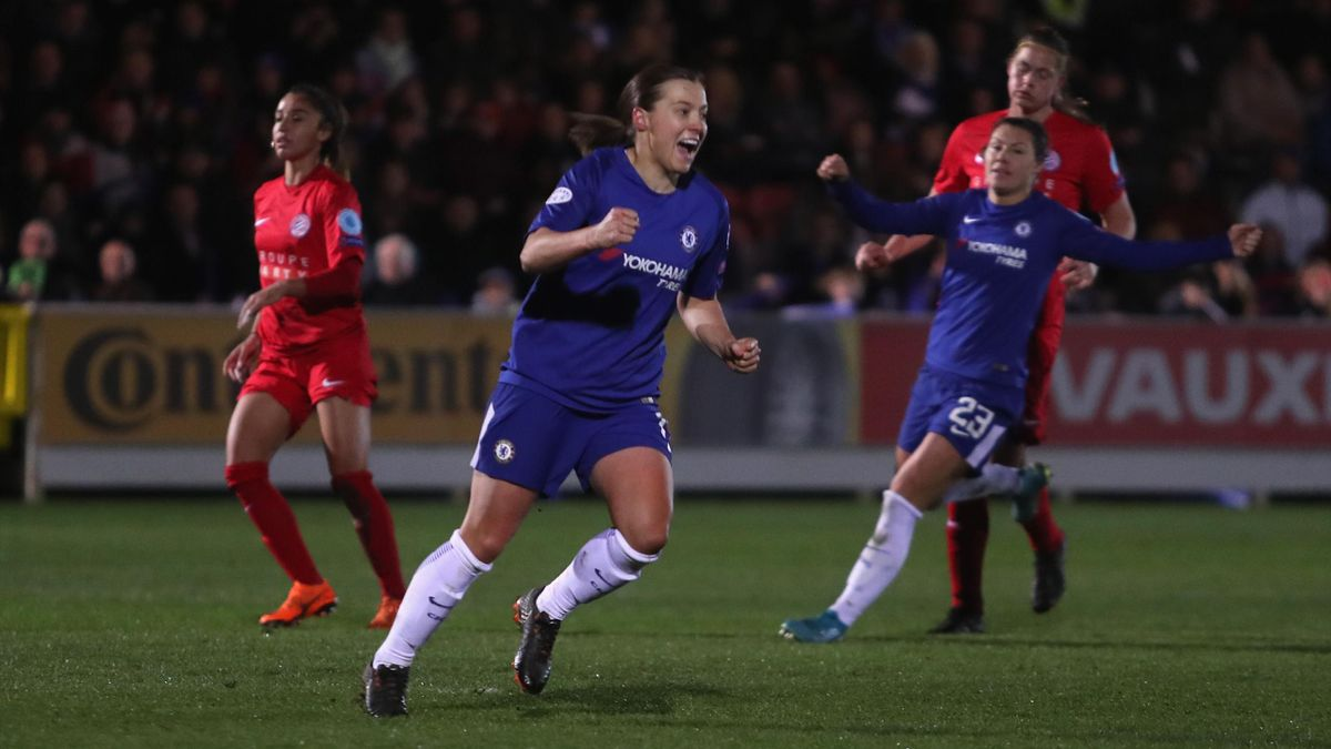 Fran Kirby celebrates scoring thir third goal during the UEFA Womens Champions League Quarter-Final