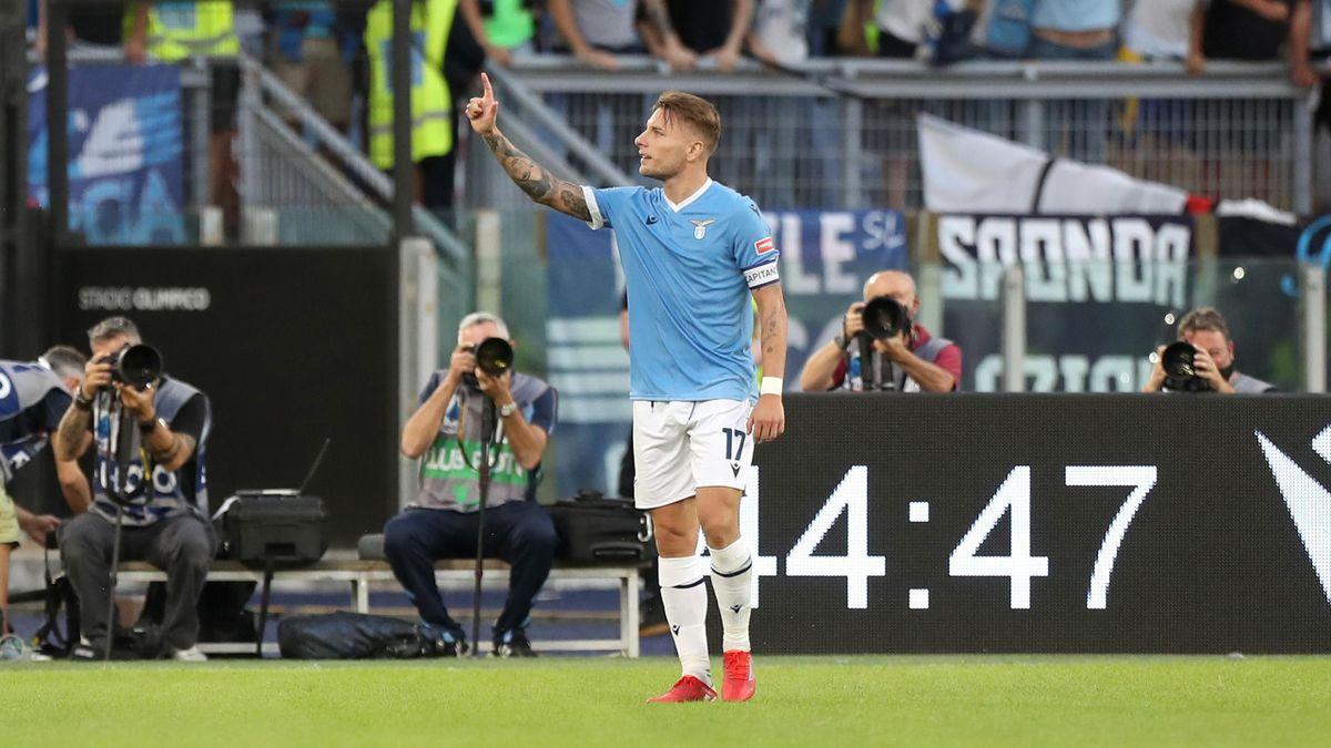 Ciro Immobile esulta per il gol al Cagliari, Lazio-Cagliari, Serie A 2021-22, Getty Images