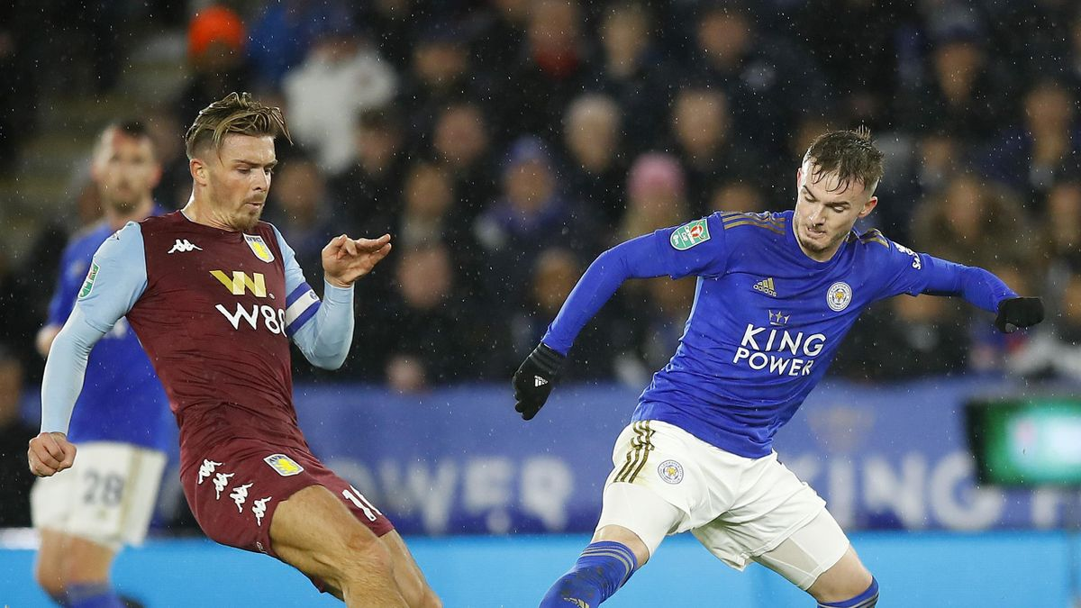 Jack Grealish of Aston Villa competes with James Maddison of Leicester City during the Carabao Cup Semi Final match between Leicester City and Aston Villa at The King Power Stadium on January 08, 2020 in Leicester, England.