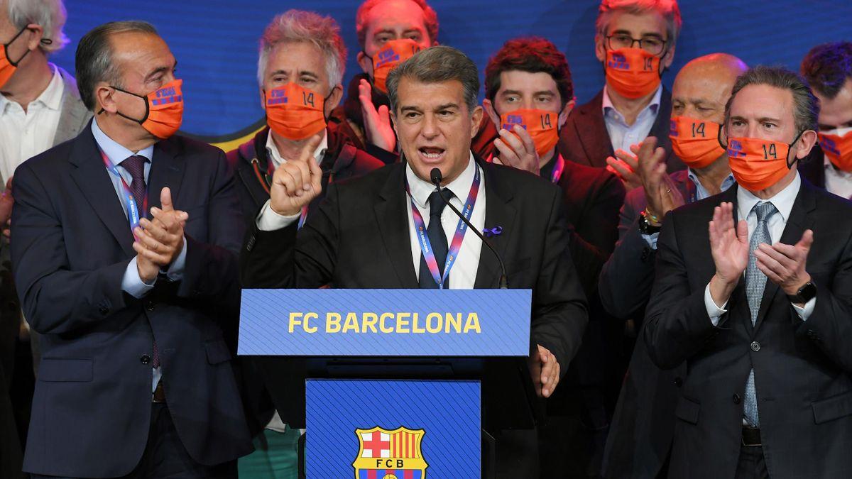 Joan Laporta après les élections à la présidence du FC Barcelone le 7 mars 2021.