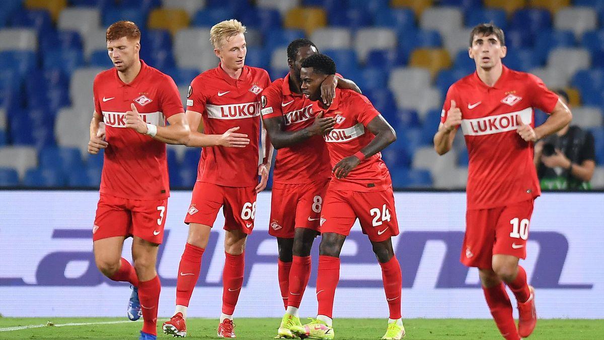 «Спартак» празднует гол против «Наполи»
