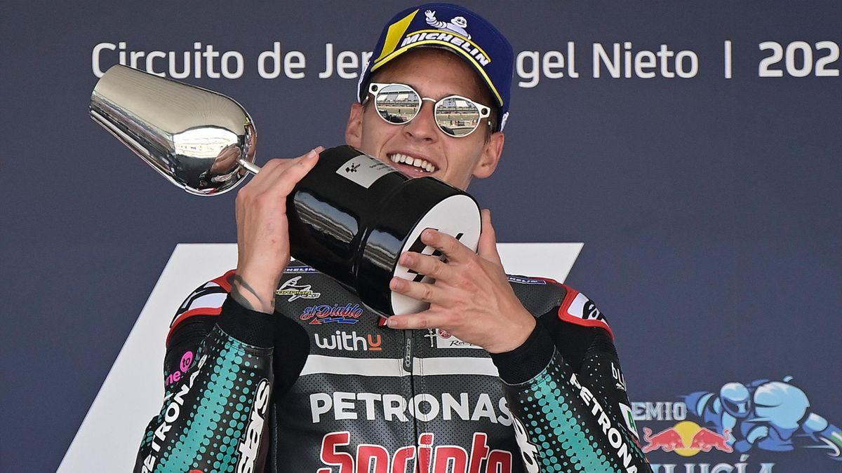 Fabio Quartararo (Yamaha Petronas SRT) lors du Grand Prix d'Andalousie, le 26 juillet 2020