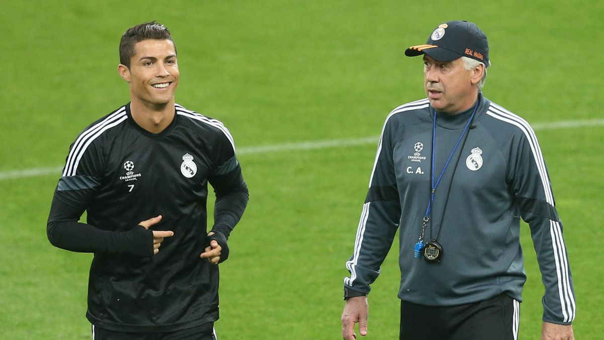 Cristiano Ronaldo and Carlo Ancelotti attend training ahead of the match against Juventus