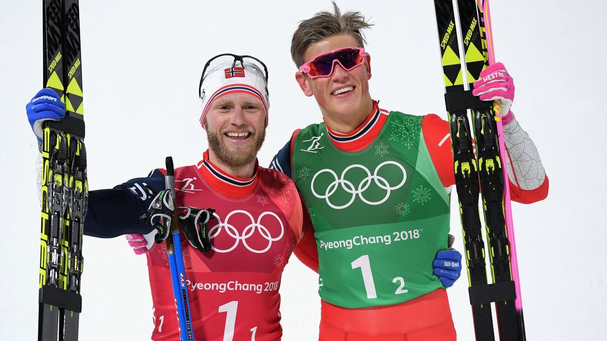 Johannes Klaebo (r.) und Martin Sundby (l.) bei Oympia 2018