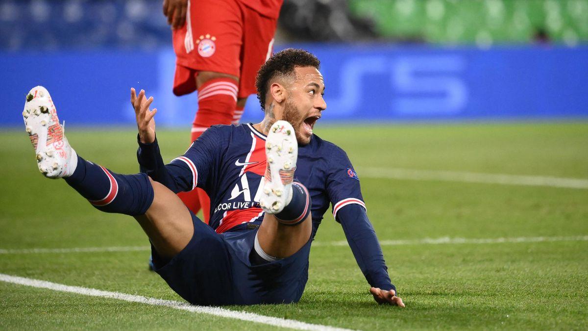 Paris Saint-Germain's Brazilian forward Neymar reacts during the UEFA Champions League quarter-final second leg football match between Paris Saint-Germain (PSG) and FC Bayern Munich at the Parc des Princes stadium in Paris, on April 13, 2021