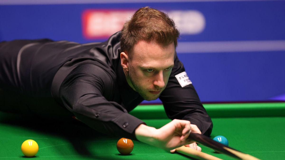 Judd Trump lines up a pot, World Snooker Championship, the Crucible, Sheffield, April 20, 2021